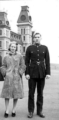 Peggy and OC MHF Webber at RMC Graduation, Dec. 1939