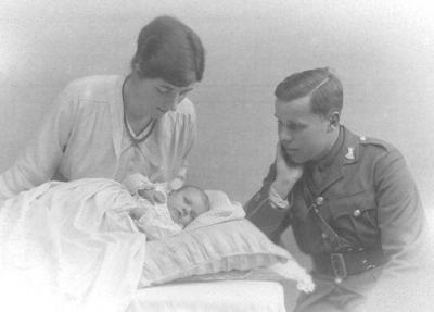 Michael as a new born with Father Harold and Mother Edith